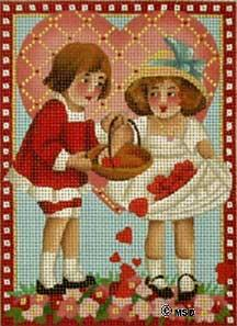 click here to view larger image of Victorian Valentine - Sharing Hearts (hand painted canvases)