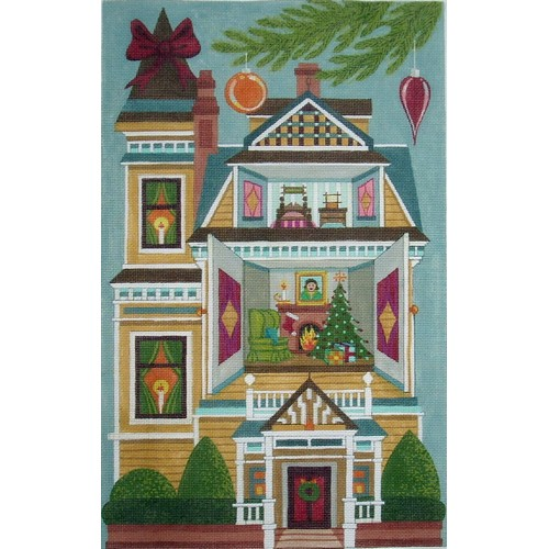 click here to view larger image of Christmas Doll House - 13ct (hand painted canvases)