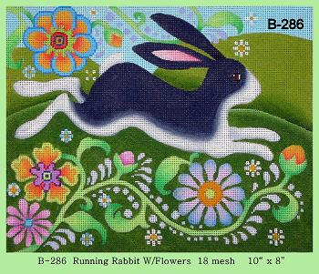 click here to view larger image of Running Rabbit with Flowers (hand painted canvases)