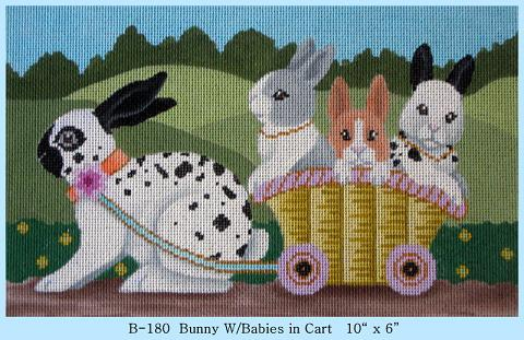 click here to view larger image of Bunny with Babies in Cart (hand painted canvases)
