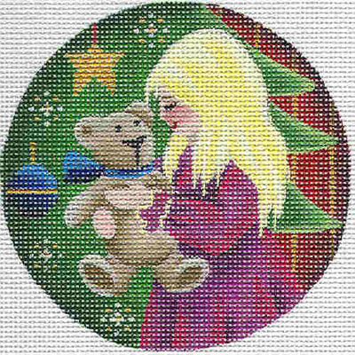 click here to view larger image of Teddy Christmas Ornament (hand painted canvases)
