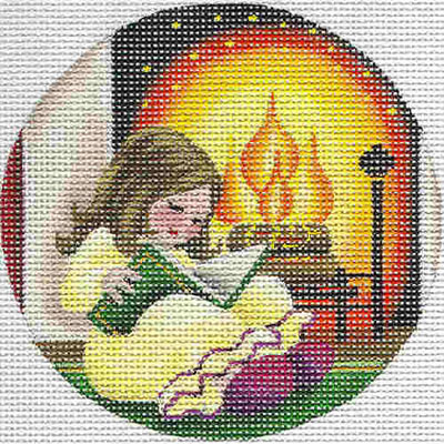 click here to view larger image of Reading by the Fire Ornament (hand painted canvases)