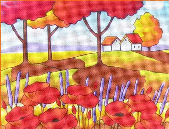 Poppies and Lavender hand painted canvases