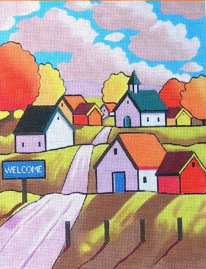 click here to view larger image of Town Welcome (hand painted canvases)