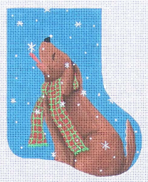 click here to view larger image of Dog Catching Snowflakes mini-stocking (hand painted canvases)