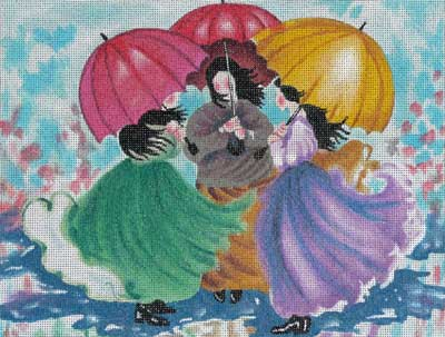 click here to view larger image of Three Umbrellas (hand painted canvases)
