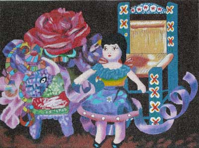 click here to view larger image of Doll with Pinata (hand painted canvases)