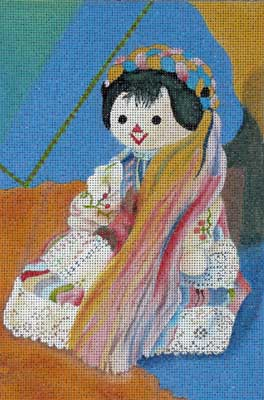 click here to view larger image of Doll with Ribbons (hand painted canvases)