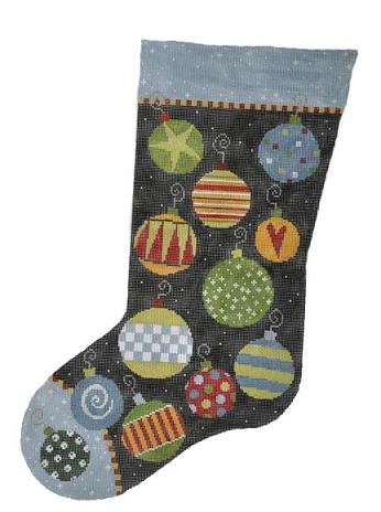 click here to view larger image of Bauble Stocking  (hand painted canvases)