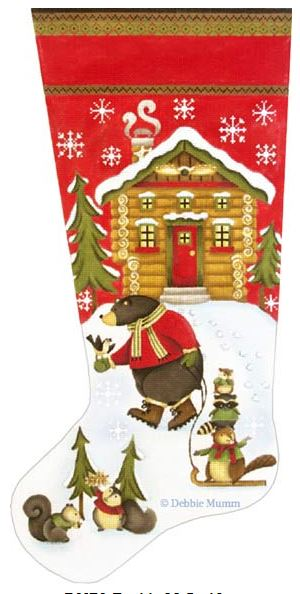 click here to view larger image of Bear Sled Stocking (hand painted canvases)