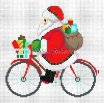 click here to view larger image of Biking Santa (hand painted canvases)