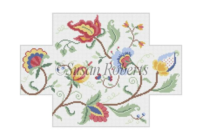 click here to view larger image of Crewel Floral Brickcover (hand painted canvases)