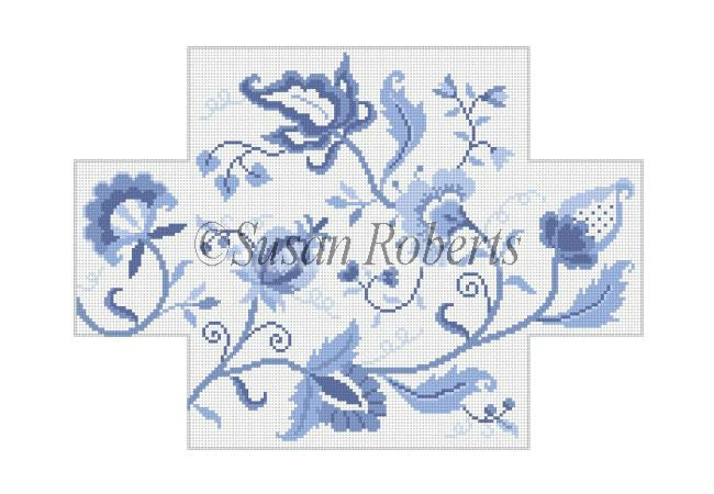 click here to view larger image of Crewel Floral Blues Brickcover (hand painted canvases)