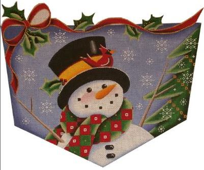 click here to view larger image of Cardinal and Snowman Cuff - 13ct (hand painted canvases)
