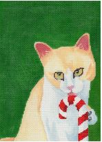 click here to view larger image of Candy Cane Kitty (hand painted canvases)