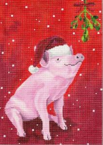 click here to view larger image of Pig in Santa Hat (hand painted canvases)