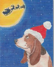 click here to view larger image of Basset Hound Christmas (hand painted canvases)