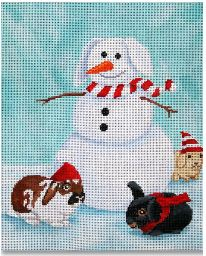 Snowman and Friends hand painted canvases