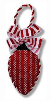 click here to view larger image of Light Bulb - Red White Stripes (hand painted canvases)