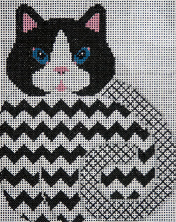 Black and White Kitty w/Chevrons hand painted canvases