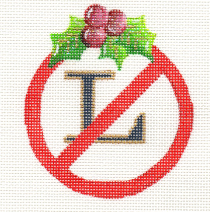 click here to view larger image of No L Round Ornament (hand painted canvases)