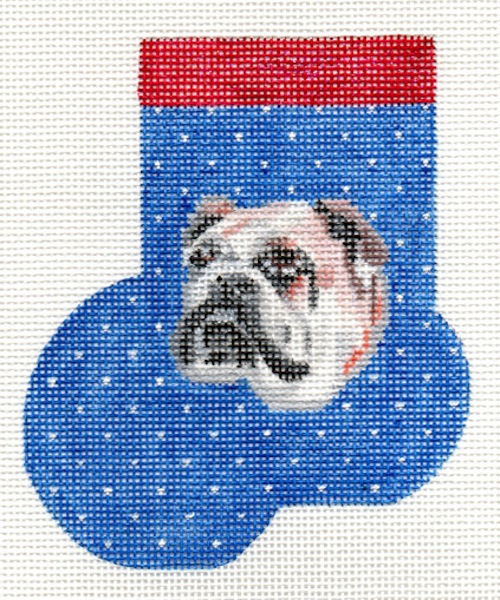 click here to view larger image of Bull Dog Mini Sock (hand painted canvases)