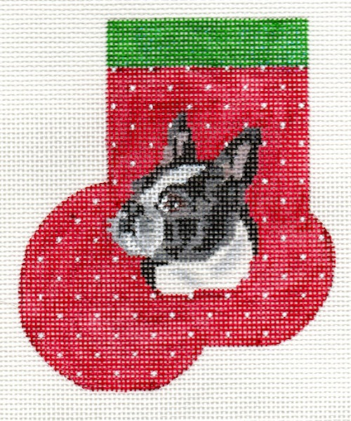 click here to view larger image of Boston Terrier Mini Sock (hand painted canvases)