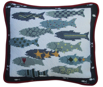 click here to view larger image of Twelve Fish for the Catching (hand painted canvases)