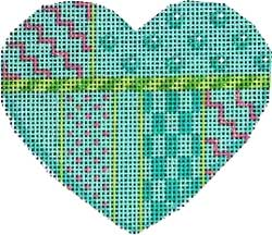 click here to view larger image of Turquoise Patterns Heart (hand painted canvases)