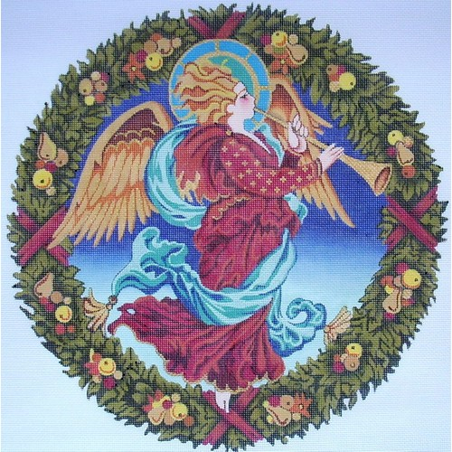 click here to view larger image of Della Robbia Angel Wreath (hand painted canvases)