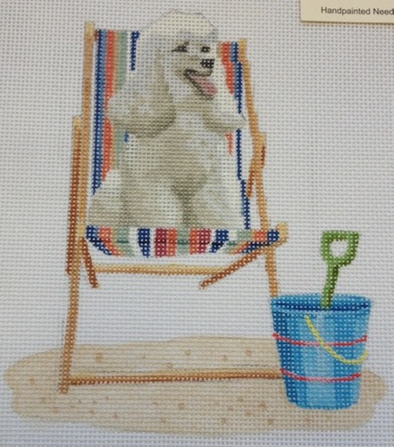 click here to view larger image of Retro Beach - Poodle on Deck CHair (hand painted canvases)