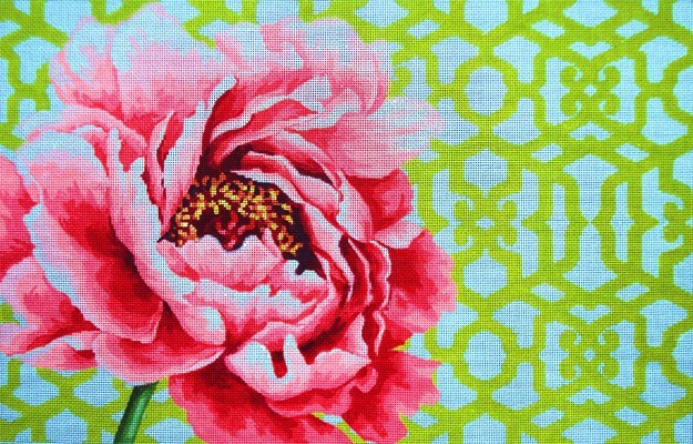 click here to view larger image of Peony Trellis - 18ct (hand painted canvases)