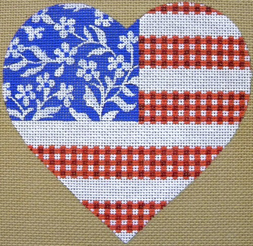 click here to view larger image of Floral Flag - Stars & Stripes Heart (hand painted canvases)