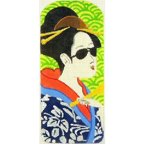 click here to view larger image of Eyeglasses Case Geisha Blue Kimono (hand painted canvases)