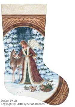 click here to view larger image of Angel with Pony & Puppies Stocking - 13ct (hand painted canvases)