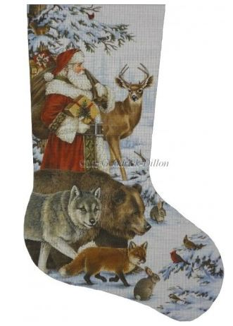 click here to view larger image of Woodland Christmas Stocking  - 13ct (hand painted canvases)