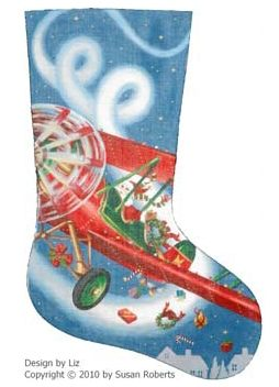 click here to view larger image of Flying High Santa  Stocking - 18ct - Left facing toe (hand painted canvases)