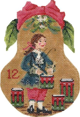 click here to view larger image of Twelve Drummers Drumming Pear Stitch Guide (books)