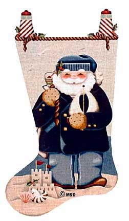 click here to view larger image of Sailor Santa Stocking - 18ct (hand painted canvases)