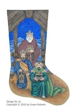 click here to view larger image of Coming of the Magi Stocking (hand painted canvases)