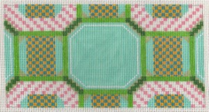 click here to view larger image of Pink-Aqua Needlepoint Long Tote Insert Needlepoint (None Selected)