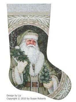 click here to view larger image of Evergreen Santa Stocking - 13ct (None Selected)