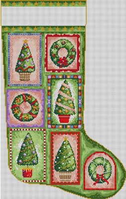 click here to view larger image of Christmas Trees Stocking (hand painted canvases)