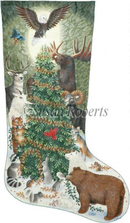 click here to view larger image of Woodland Animals Stocking (hand painted canvases)