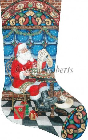 click here to view larger image of Coffee Break Santa Stocking (hand painted canvases)
