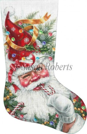 click here to view larger image of Decorated Santa Stocking (hand painted canvases)