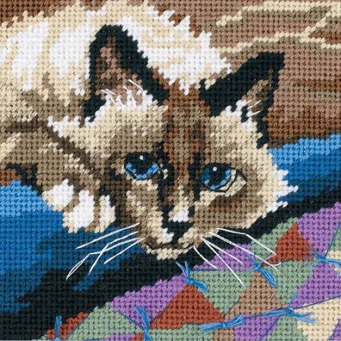 click here to view larger image of Cuddly Cat (needlepoint kits)