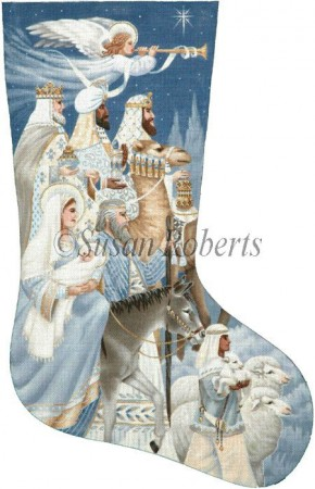 click here to view larger image of The Nativity Stocking (hand painted canvases)