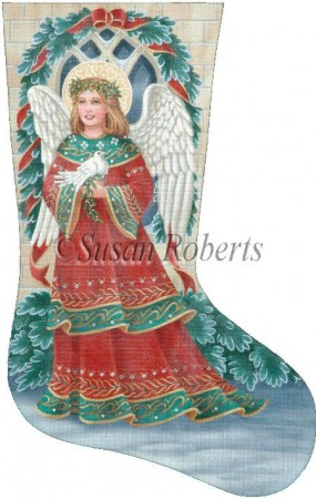 click here to view larger image of Christmas Angel Stocking - 18 mesh (hand painted canvases)