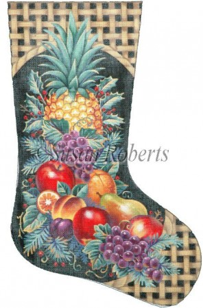 click here to view larger image of Christmas Fruit Stocking - 13 Mesh (hand painted canvases)